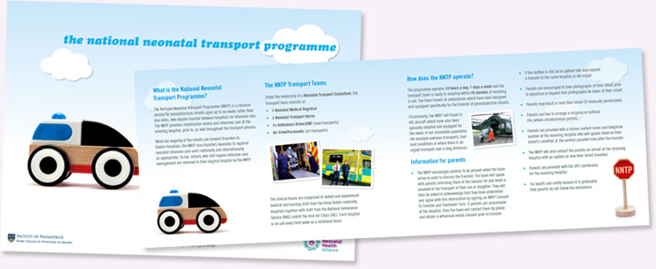 Collage of leaflet about the National Neonatal Transport Programme. Clicking on this image will download the leaflet in PDF format.