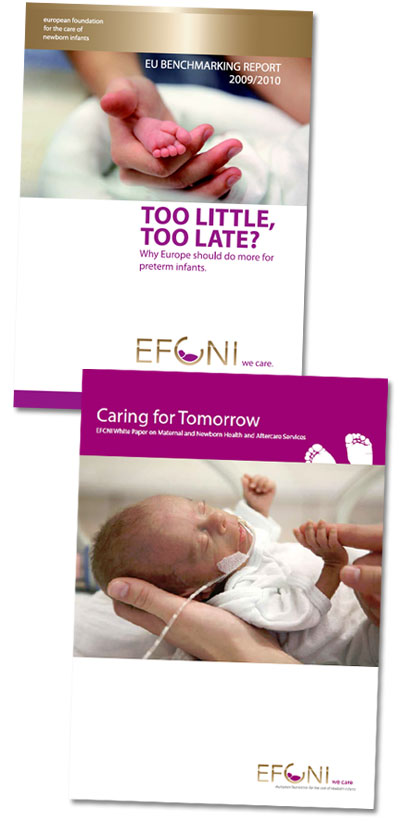 Image including two report covers. Top cover is 'Too Little Too Late?'. Bottom cover is 'Caring for Tomorrow' report, both by the EFCNI