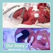 Image of Heynan twin brothers shortly after premature birth with 'My Story' title