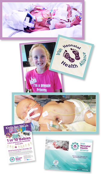 Collage of 6 images of babies and fundraising activities to encourage visitors to donate to the INHA.
