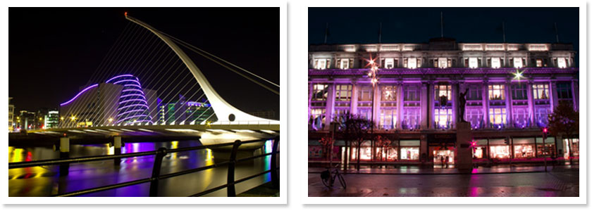 Two photos depiciting the purple illumination of landmark buildings in Dublin on World Prematurity Day