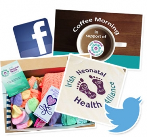 Collage of images relating to INHA fundraising and awareness raising activity - social media logos and photos of merchandise and posters