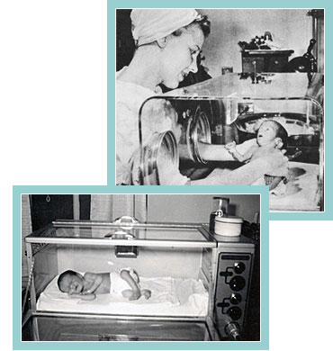 Collage of 2 black and white photos showing old incubators with nurse attending to child in one of the photos
