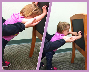 Collage of two photos of young girl undergoing physiotherapy.